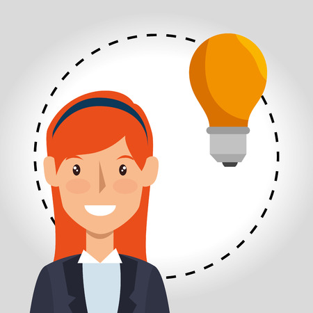 yellow bulb: avatar business woman and yellow bulb light icon. vector illustration