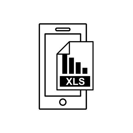 xls: smartphone with electronic file vector illustration design