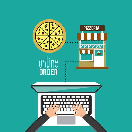 pizza place: restaurant menu online order vector illustration design