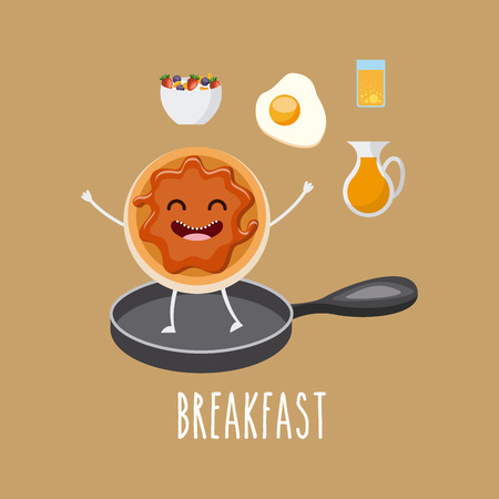 cartoons sweet: delicious and nutritive breakfast character vector illustration design Illustration