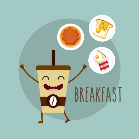 delicious and nutritive breakfast character vector illustration design Stock Photo