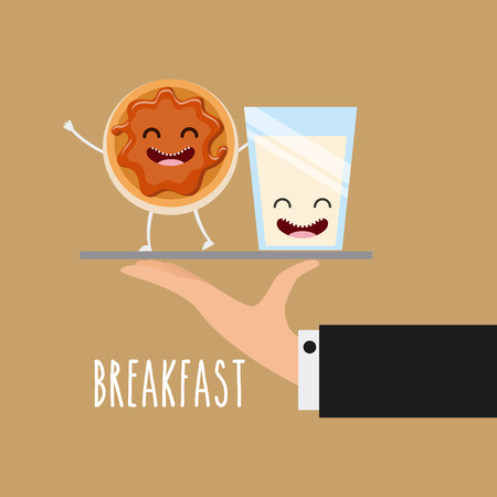 delicious and nutritive breakfast character vector illustration design Illustration