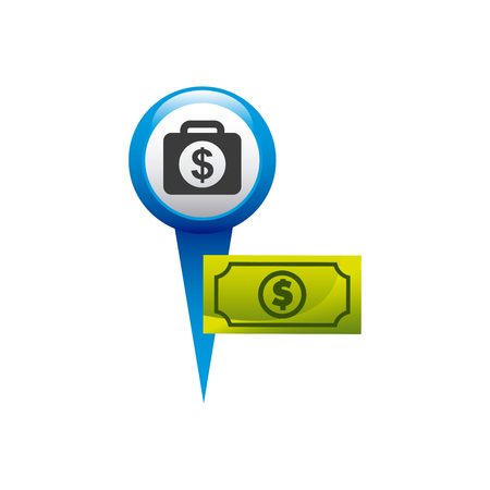 financial position: pin pointer with money icon vector illustration design