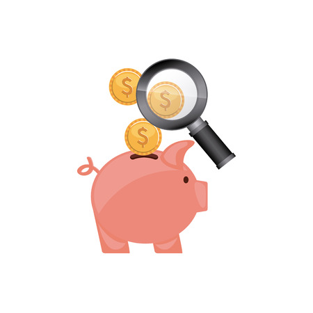 savings account: piggy savings with economy icon vector illustration design
