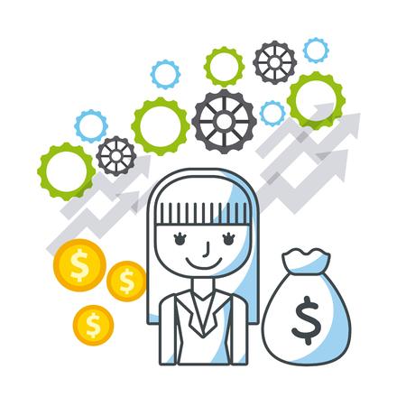 fondos negocios: fondos de crecimiento de negocios iconos planos ilustraci�n vectorial de dise�o Vectores