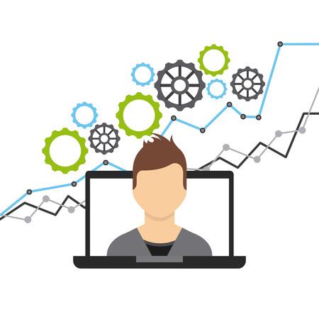 fondos negocios: fondos de crecimiento de negocios iconos planos ilustración vectorial de diseño Vectores