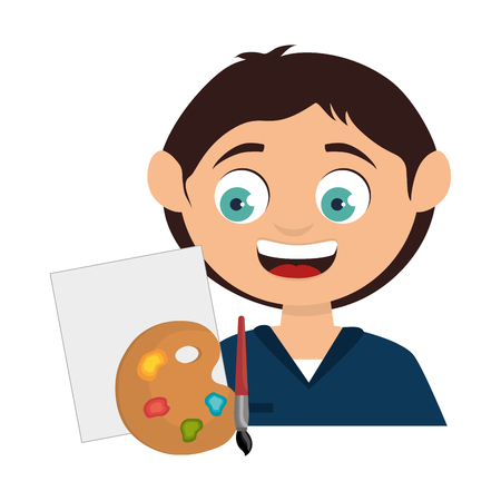 paint palette: avatar boy smiling with art paint palette and canvas icon. colorful design. vector illustration