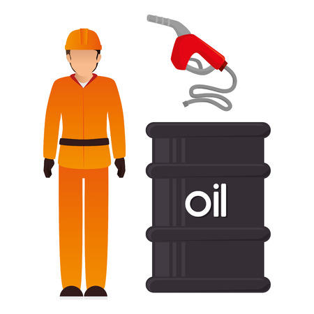 gas man: avatar man industrial worker with oil can and gas pump. petroleum theme. vector illustration