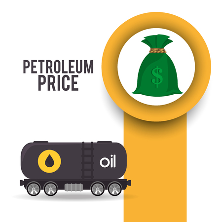 money sack: container tank with oil and money sack. petroleum price theme. vector illustration