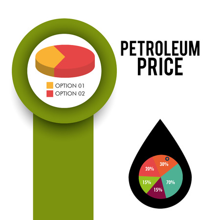 price development: graphic charts and pie chart. petroleum price theme. vector illustration