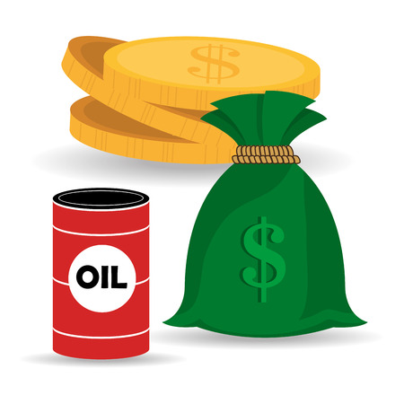 oil can and money sack and coins. petroleum price design. vector illustration