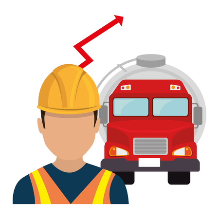 environmental contamination: avatar industrial worker man with oil tank truck and financial red arrow. vector illustration