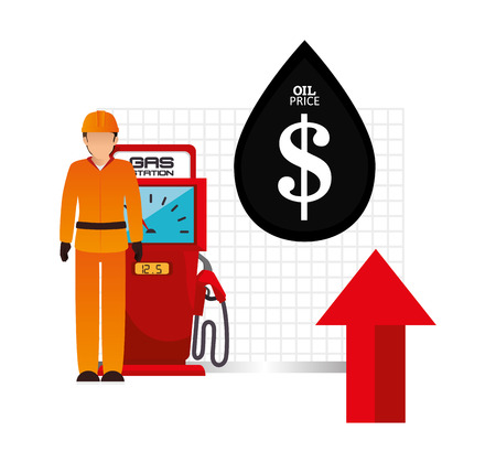 gas man: avatar worker man with gas station pump and red arrow up with oil drop. oil price theme. vector illustration Illustration