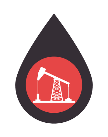 price development: oil rig tower inside pin. petroleum industry design. vector illustration