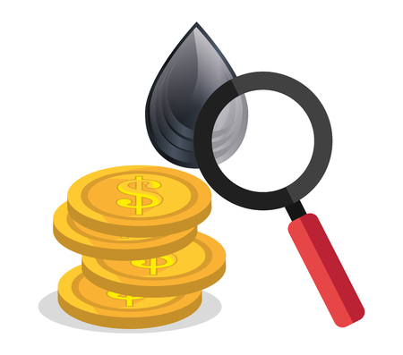 black drop and money coins with magnifying glass. oil and petroleum price design. vector illustration