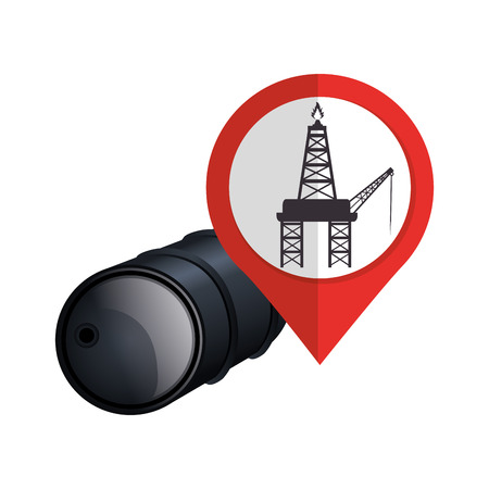 black barrel and pin with oil rig tower icon inside. vector illustration Illustration