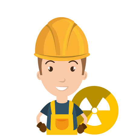 nuclear safety: avatar man smiling industrial worker with safety equipment and nuclear icon over yellow circle. vector illustration