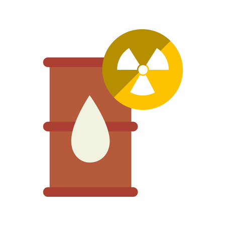 oil barrel and pin with nuclear icon over yellow circle. vector illustration