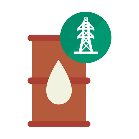 barrel and pin with electric tower structure icon over green circle. vector illustration