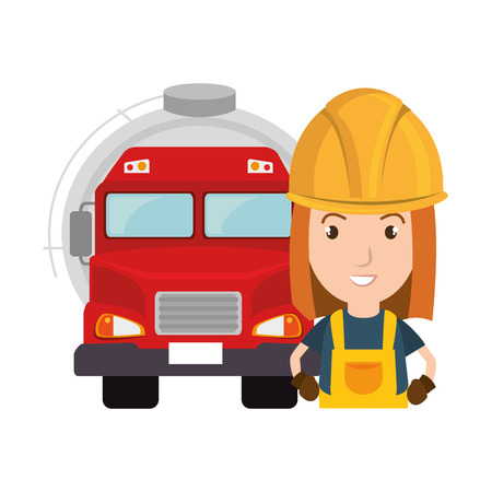 oil tank truck with avatar woman industrial worker icon. vector illustration