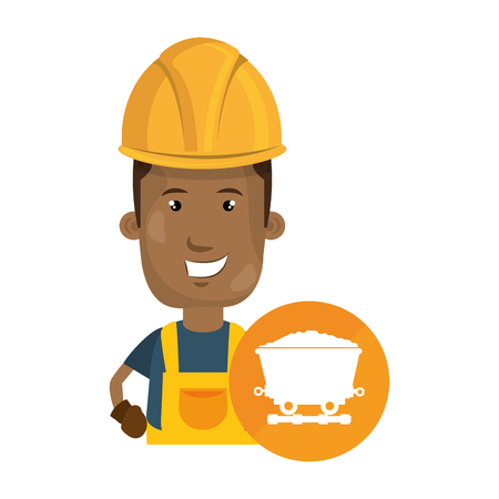 avatar industrial worker with safety equipment and cargo wagon icon over orange circle. vector illustration