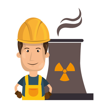 nuclear safety: avatar man smiling industrial worker with safety equipment and  nuclear plant icon. vector illustration Illustration