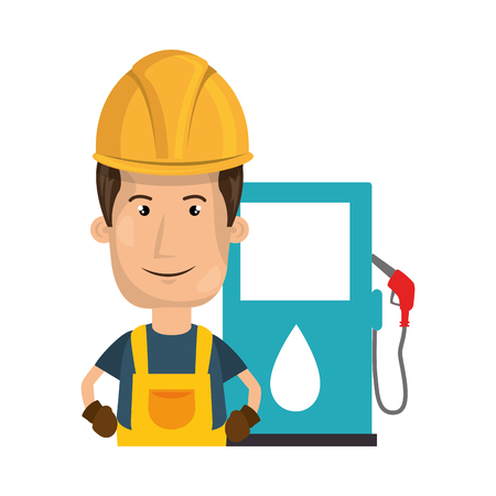 gas man: avatar man industrial worker smiling with safety equipment and gas station pump icon. vector illustration