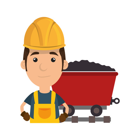 hauling: avatar man smiling industrial worker with safety equipment and cargo wagon with coal. vector illustration Illustration