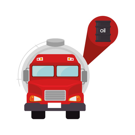 red tank truck vehicle with oil barrel icon. vector illustration Illustration