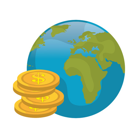 gold earth: earth planet globe qith money gold coins. vector illustration
