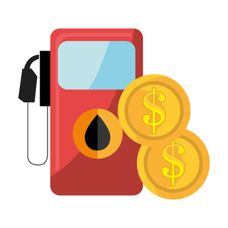 stranded: oil station pump with drop icon and money coins. vector illustration