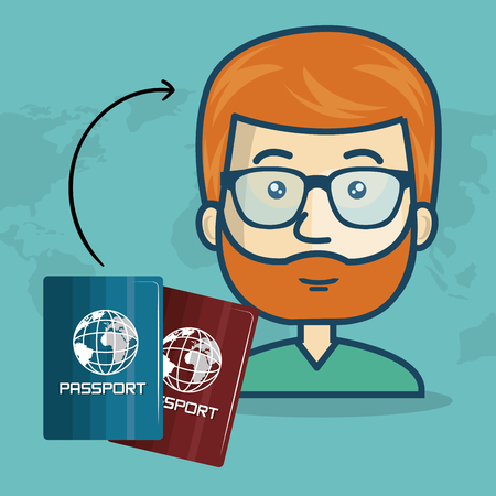 avatar man with passports over world map blue background. vector illustration