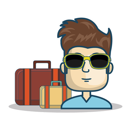 boarding card: avatar man smiling wearing sunglasses and travel suitcases over white background. vector illustration
