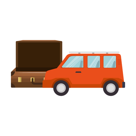 vehicle accessory: travel suitcase accessory and orange van vehicle over white background. vector illustration