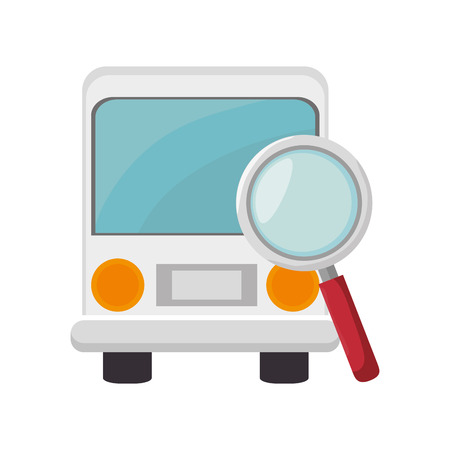 omnibus: bus transportation vehicle and magnifying glass icon over white background. vector illustration Illustration