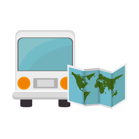 omnibus: bus transportation vehicle and world map icon over white background. vector illustration