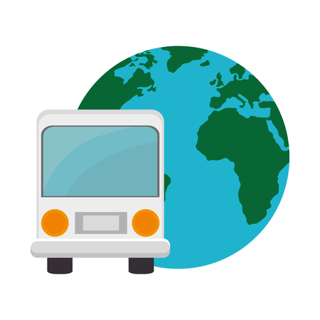 bus transportation vehicle and earth planet icon over white background. vector illustration