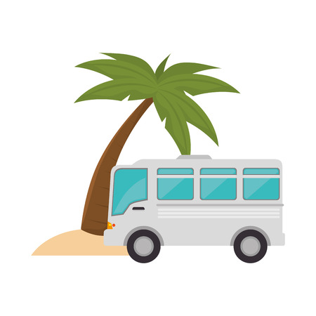 omnibus: bus transportation vehicle and palm tree icon over white background. vector illustration