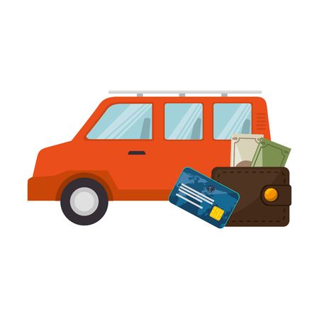 money wallet: money wallet accessory and credit card with van vehicle  icon over white background. vector illustration Illustration