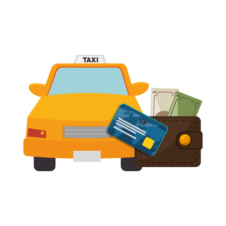money wallet: money wallet accessory and credit card with taxi car icon over white background. vector illustration