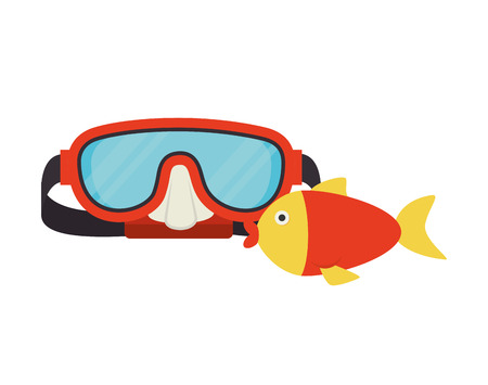 sunglasses recreation: red snorkel mask and colorful fish over white background. vector illustration