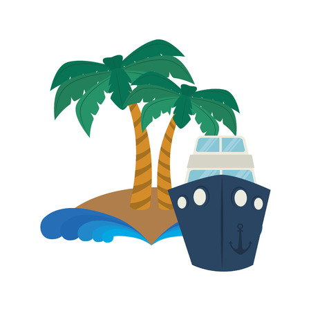 cruis: summer palm tree and cruis ship over white background. vector illustration Illustration