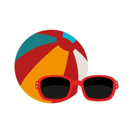 colorful striped ball and sunglasses accessory icon. vector illustration