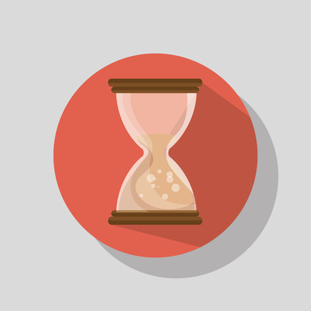 time over: sandclock time device icon over red background. vector illustration