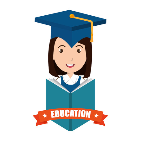 academic robe: avatar woman smiling wearing graduation cap and education ribbon decoration. vector illustration