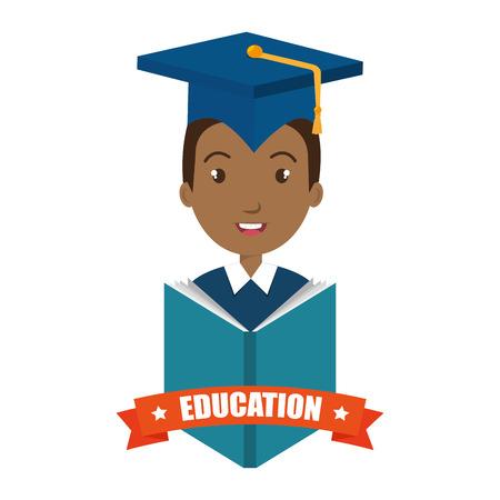 succeeding: avatar man smiling wearing graduation cap and education ribbon decoration. vector illustration