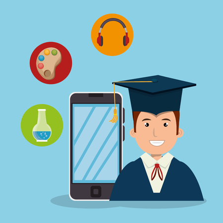 smartphone device and avatar man with graduation hat. education app design. vector illustration