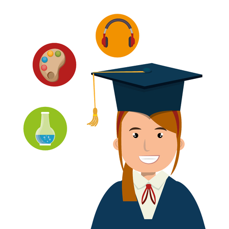 avatar woman smiling wearing graduation cap and education icon set over white background. vector illustration Illustration