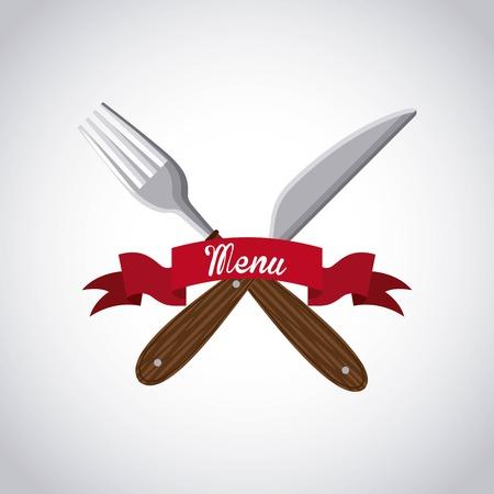 serving utensil: menu restaurant with cutlery set vector illustration design Illustration