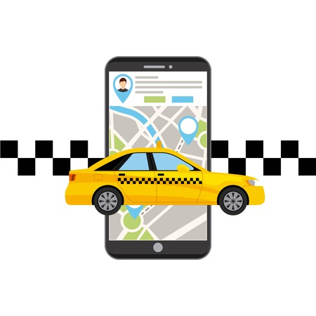 servicio de taxi tecnología de aplicación el transporte público ilustración vectorial de diseño